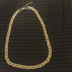 Multi Chain Link Braided Gold Statement Necklace